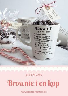 Brownie i en kop Giv en gave der kan spis Creative Money Gifts, Wish Gifts, Boost Creativity, Party Hacks, Scandinavian Christmas, Christmas Love, Diy Valentine, Hostess Gifts, Small Gifts