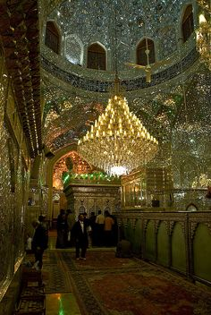 King of Light Mosque in Shiraz, Iran.  Beautiful example of the use of mirror work.