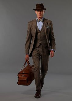Brown suit // YES! And the hat just sets it off. - Kat