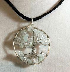 Crystal and Aquamarine Tree of Life inspired Pendant by AlisonsGemstones on Etsy