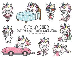 Premium Vector Clipart - Kawaii Unicorn - Cute Unicorn Planning Clipart - Even More Unicorns - Instant Download - Kawaii Clipart