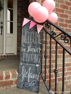 Adorable diy ideas for a pink elephant baby shower! Love the chalkboard sign at the entrance
