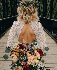 """2,111 Likes, 33 Comments - Engaged Life (@engagedlife) on Instagram: """"Speechless over this dress (tell us where it's from @mmmriss), hair, flower crown and bouquet …"""""""