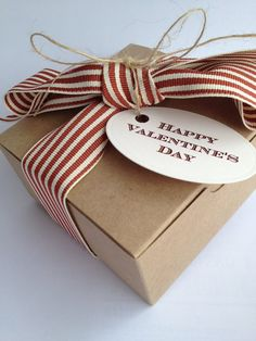 Natural Kraft Tuck Top Valentine Box Set • Bakery Box • Gift Box  - Includes Box~Ribbon~Button Twine~Tag - You Pick Box Size on Etsy, $2.75