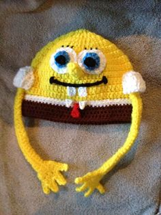 My Spongebob beanie! Trying to raise money for my daughter's NCA trip to participate in the Disney Christmas Parade this year! Disney Christmas Parade, How To Raise Money, How To Make, Spongebob, Mittens, Crochet Baby, To My Daughter, Baby Kids, Beanie
