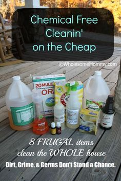 Chemical Free Cleaning on the Cheap! Just 8 frugal ingredients. #oilyfamilies #youngliving