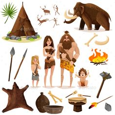 Buy Cavemen Decorative Icons Set by macrovector on GraphicRiver. Cavemen decorative icons set with hut weapon for hunting mammoth bonfire cartoon signs isolated vector illustration Icon Set, Stone Age Art, Art Deco Design, Cartoon Styles, Cartoon Images, Ancient Art, Illustrations, Vector Art, Character Design
