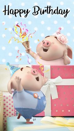 Happy birthday to you Happy Birthday Pig, Birthday Icon, Happy Birthday Quotes For Friends, Happy Birthday Cake Images, Happy Birthday Wallpaper, Birthday Wishes Messages, Birthday Greetings, Birthday Pictures, Pig Wallpaper