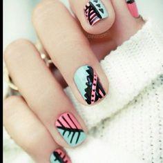geometric nail art | Tumblr