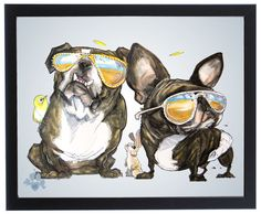 French Bulldog Caricature Art Print – JohnLaFree.com #frenchbulldog #frenchie #johnlafree