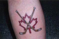 Maple Leaf and Hockey Sticks Tattoo