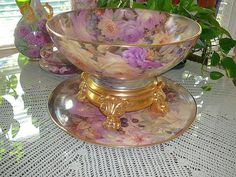 Incredible Limoges Punch Bowl Stand and Tray with Roses, Blackberries. Much Gold but colors are beautiful.