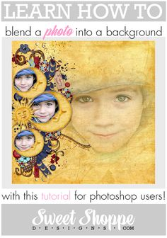 This digital scrapbooking tutorial will teach you how to blend a photo into a background in Photoshop.