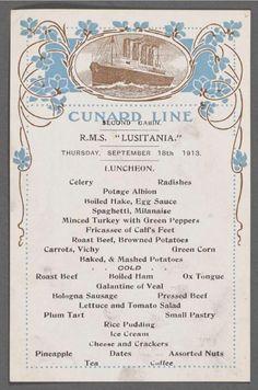 Lusitania menu