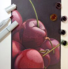 I'm always surprised when I do a realistic Copic marker drawing how little blending I end up doing :) #cherries