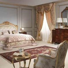 Classic luxury bedroom 800 francese, capitonné bed, gold leaf finish, walnut chest of drawers and night tables, wall mirror Classic Furniture, Luxury Furniture, Baroque Bedroom, Luxurious Bedrooms, Luxury Bedrooms, Headboards For Beds, Luxury Bedding, Bedding Sets, Room Decor