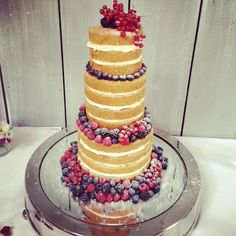 Naked cake with fresh summer berries