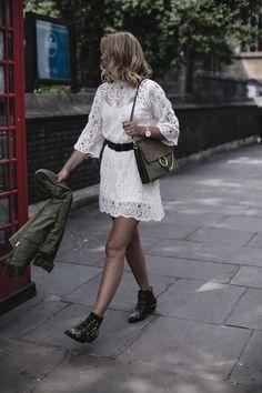 EJ Style   Cream lace dress, black waist belt, khaki jacket, Chloe Faye bag, Chloe Susanna boots, Summer outfit