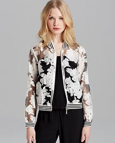 Lucy Paris Jacket - Floral Organza Bomber   Bloomingdale's  the floral and stripe mix is jarring and kind of weird but i really am into this.