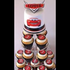 Cars cake with cupcakes