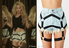 """fcbarcelonawagsstyle: """" Shakira debuted her new music video """"Chantaje"""" featuring Maluma. She was wearing a pair of Nasty Gal Blue Harness Cutoff Shorts (sold out). Worn with: La Perla bra and Yves Saint Laurent Boots. """" Update: The shorts are not..."""