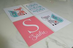 Custom Name Levtex Baby Fiona prints nursery decor boho fox teal melon coral blue green baby shower gift  https://www.etsy.com/listing/488413072/custom-name-nursery-art-coordinates