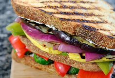 Grilled Vegetable and Goat Cheese Sandwiches by ezrapoundcake #Sandwich #Veggie #ezrapouncake