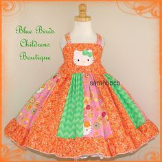 Girls - Hello Kitty ORANGE Citrus Sherbert Dress - BBCB Boutique - not custom fits approx 2T 3T 2/3 - Birthday Party Princess Pageant on Etsy, $45.00