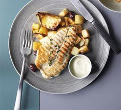 Lemon & thyme chicken with roast potatoes & olives ... This Mediterranean spin on grilled chicken and chips makes a speedy and delicious supper for two.