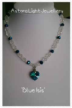 """""""Blue Isis"""" crystal bead necklace, features Swarovski Crystal Heart. $60.00 Awakens 3rd eye. Empowerment of the Goddess"""