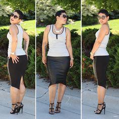 Leather trim tank & DIY skirt