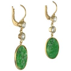 Antique Jade Diamond Gold Earrings | From a unique collection of vintage dangle earrings at https://www.1stdibs.com/jewelry/earrings/dangle-earrings/