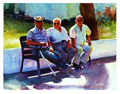 "Three Amigos by Graham Berry Watercolor ~ 12"" x 15"""