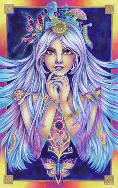 """16x11"""" (A3) ORIGINAL FANTASY ILLUSTRATION Mad Witch - Beautiful white lilac hair woman with butterflies, snails and mushrooms by sakuems"""