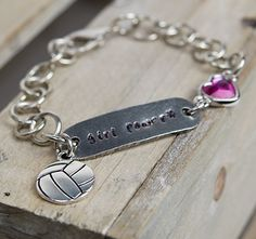 Girl Power Bracelet idea with TierraCast's Rock n Roll ID Tag link, Heart bezel link and Soccer Ball charm. Design by Tracy Gonzales for TierraCast.