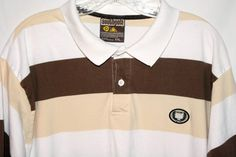 Southpole Mens Brown Beige & White Striped Polo Short Sleeve Shirt XL | eBay