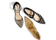 Strappy Flats | Lace Peyton flats (MoniqueHuillier.com), crystal detail leather flats (Dolce & Gabbana) & Faux pearl studded flats (Emporio Armani, Armani.com)