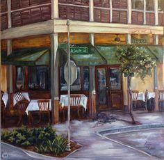 The Village Cafe by Maria Randolph Oil ~ 24 x 24