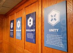 for once we have our core values Foamboard signs for Oasis Church fabricated and installed by SignWorks, designed by Birdsong Creative Church Lobby, Church Foyer, Corporate Office Design, Office Branding, Corporate Branding, Church Welcome Center, Company Core Values, Office Signage, Corporate Values