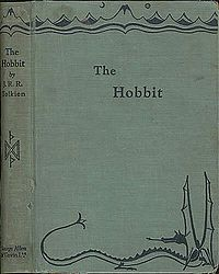 The Hobbit (1st edition cover) by JRR Tolkien's fantasy novel and children's book 1937
