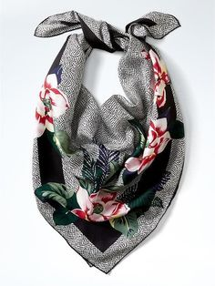 Banana Republic Floral Large Square Silk Scarf Size One