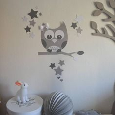 stickers décoration chambre enfant bébé hibou chouette étoiles vert ...