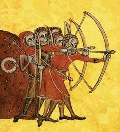 Medieval painting - Peasant longbowmen at practice, from the Luttrell Psalter, c. Medieval Archer, Medieval Life, Medieval Art, Medieval Books, Medieval Clothing, Medieval Manuscript, Illuminated Manuscript, Peasants' Revolt, Medieval Paintings