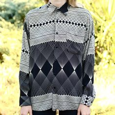 Geometric Print Rayon Shirt