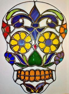 Sugar Skull Stained Glass by segovia on Etsy