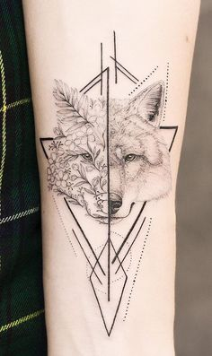 Black and white tattoo with flowers, wolf and geometry on arm. - Graphic tattoo design made on arm. I really enjoy mixing dotwork, tiny lines and geometry 😻 Also - Tribal Wolf Tattoo, Fox Tattoo, Wolf Tattoos, Forearm Tattoos, New Tattoos, Body Art Tattoos, Tiny Tattoo, Sleeve Tattoos For Women, Tattoos For Women Small