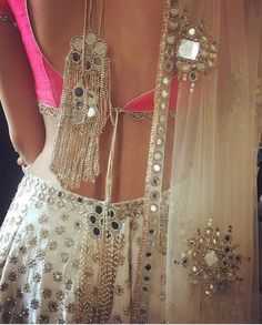 best wedding stores of Shahpur Jat with prices ! Oh would you look at this back. What a gorgeous white pink mirror lehenga choli by Abhinav Mishra Indian Lehenga, Lehenga Choli, Bridal Lehenga, Anarkali Kurti, Lehenga Blouse, Lehenga Designs, Saree Blouse Designs, Indian Attire, Indian Wear