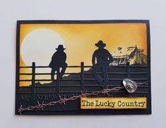 Australian Christmas Cards, Western Theme, Western Style, Horse Cards, Australian Flowers, Cowboy Birthday, Card Companies, Shaped Cards, Scrapbook Cards