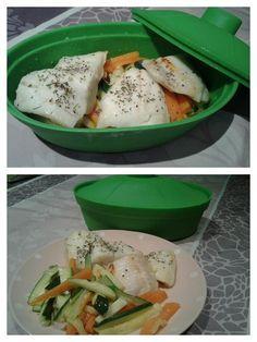 Merluza al microondas con verduras. laopiniondesara