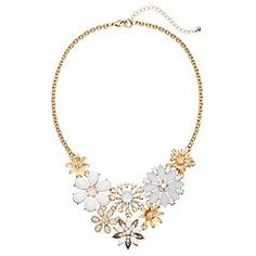 White Flower Bouquet Statement Necklace